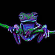 Purple Green Ghost Frog Poster