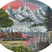 Purple Mountain Lake Poster