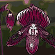 Purple Orchid Woodcut Poster