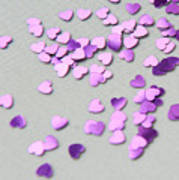 Purple Scattered Hearts I Poster