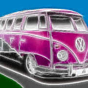 Purple Vw Bus Poster