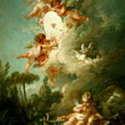 Putti Shooting At A Target Poster
