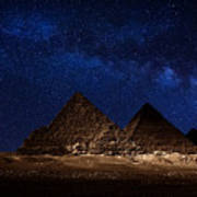 Pyramids Milky Way Poster