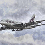 Qatar Airlines Airbus And Seagull Escort Art Poster