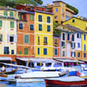 Quayside At Portofino Poster