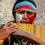 Quechuan Pan Flute Player Poster by Al Bourassa