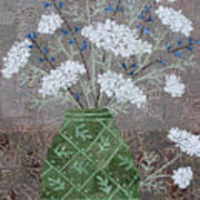Queen Anne's Lace In Green Vase Poster