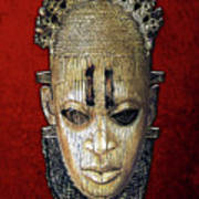 Queen Mother Idia - Ivory Hip Pendant Mask - Nigeria - Edo Peoples - Court Of Benin On Red Velvet Poster