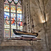 Quelven Church, Brittany, France, Ship Poster