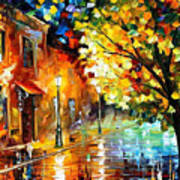Quiet Corner-garden On The Stones - Palette Knife Oil Painting On Canvas By Leonid Afremov Poster