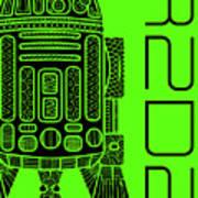 R2d2 - Star Wars Art - Green Poster