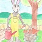 Rabbit Gardening In The Kitchen Garden Poster