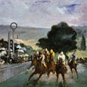 Races At Longchamp Poster by Edouard Manet