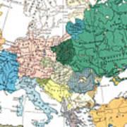 Racial Map Of Europe Circa 1923 Poster
