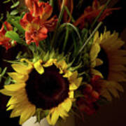 Radiant Sunflowers And Peruvian Lilies Poster