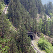 Railroad And Tunnels On Mountain Poster