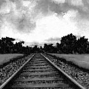 Railroad Tracks - Charcoal Poster