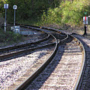 Railroads Merging Poster by Richard Mitchell