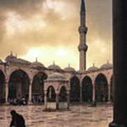 Rain At The Blue Mosque Poster