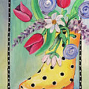 Rain Boots And Flowers Poster