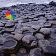 Rainbow At Giant's Causeway Poster