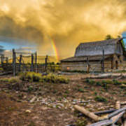 Rainbow At Moulton Barn Poster