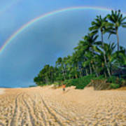 Rainbow At Pipeline, North Shore,  Poster