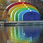 Rainbow Bandshell And Swan Poster