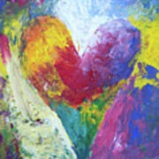 Rainbow Heart In The Cloud Acrylic Paintings Poster
