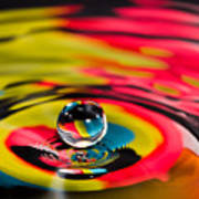 Rainbow Marble Water Drop Poster