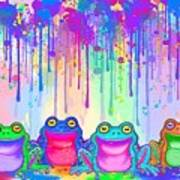 Rainbow Of Painted Frogs Poster