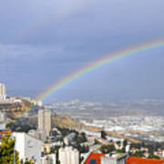 Rainbow Over Haifa, Israel  Poster