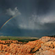 Rainbow Over Hoodoos Bryce Canyon National Park Utah Poster