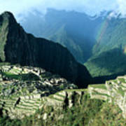 Rainbow Over Machu Picchu Poster