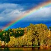 Rainbow Over Mill Pond Poster