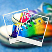 Rainbow Sneakers One Poster