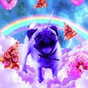 Rainbow Unicorn Pug In The Clouds In Space Poster