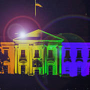 Rainbow White House Flare Poster