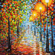 Rainy Autumn Evening In The Park Acrylic Palette Knife Painting Poster