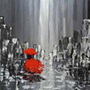 Rainy Day City Girl In Red Poster