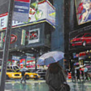 Rainy Day In Times Square Poster