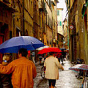 Rainy Day Shopping In Italy Poster