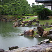 Rainy Japanese Garden Pond Poster