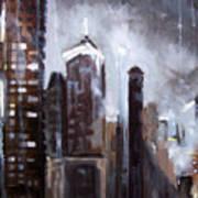 Rainy Night Downtown Poster