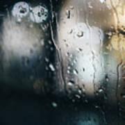 Rainy Window City Lights Poster