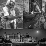 Rajasthan Collage Bw Poster