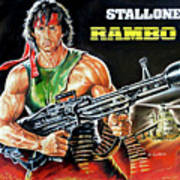 Rambo 2 Sylvester Stallone Paintinf Poster