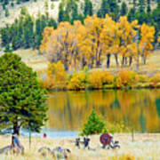 Ranch Pond In Autumn Poster
