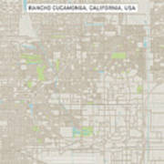 Rancho Cucamonga California Us City Street Map Poster