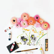 Ranunculus With First Watercolor Poster